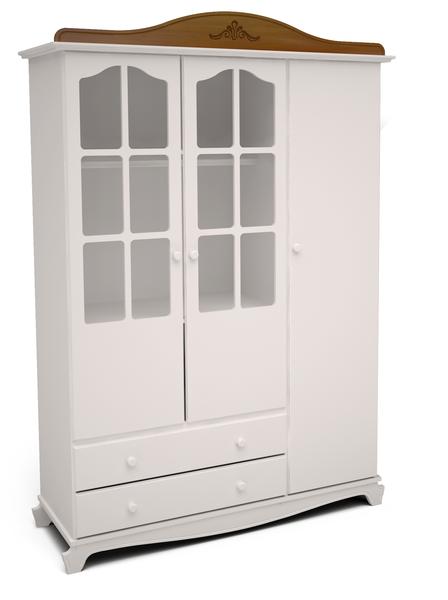 Roupeiro 3 Portas Provençal branco com desgaste Nantes